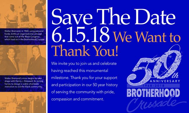Brotherhood Crusade 50th Anniversary: Save the Date