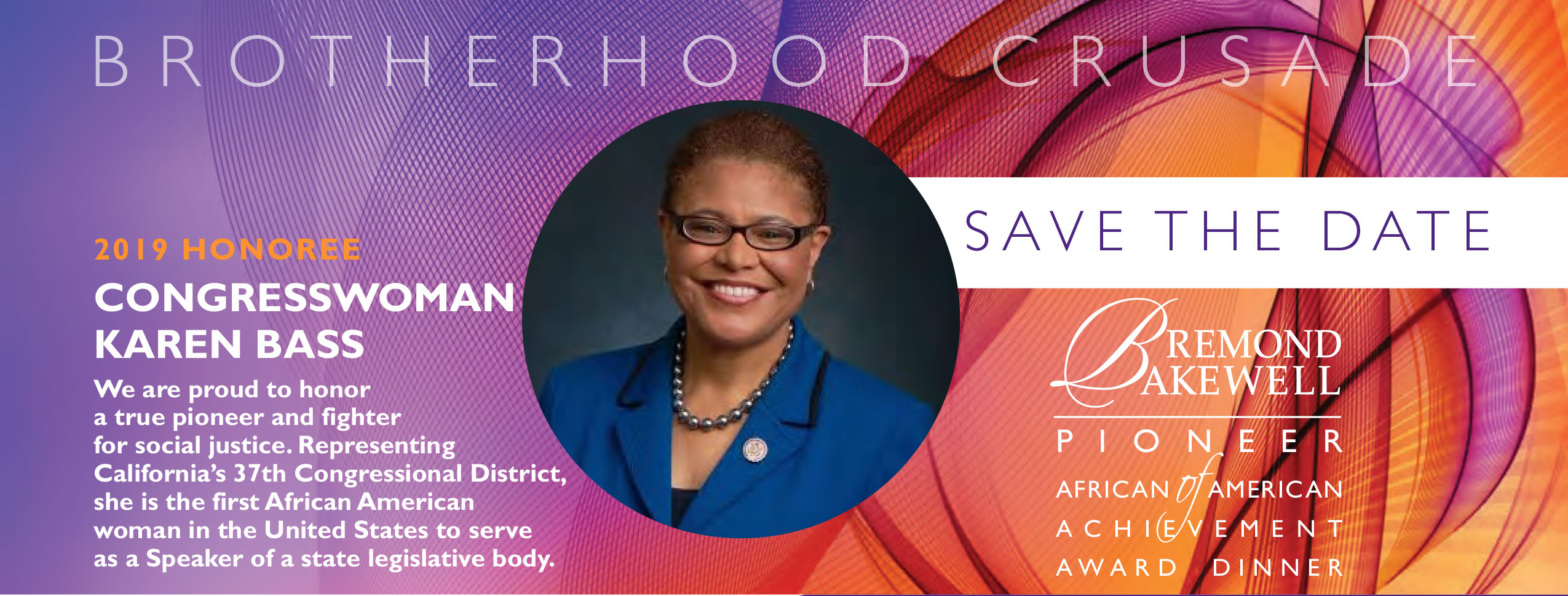 Save The Date: 2019 Honoree Congresswoman Karen Bass